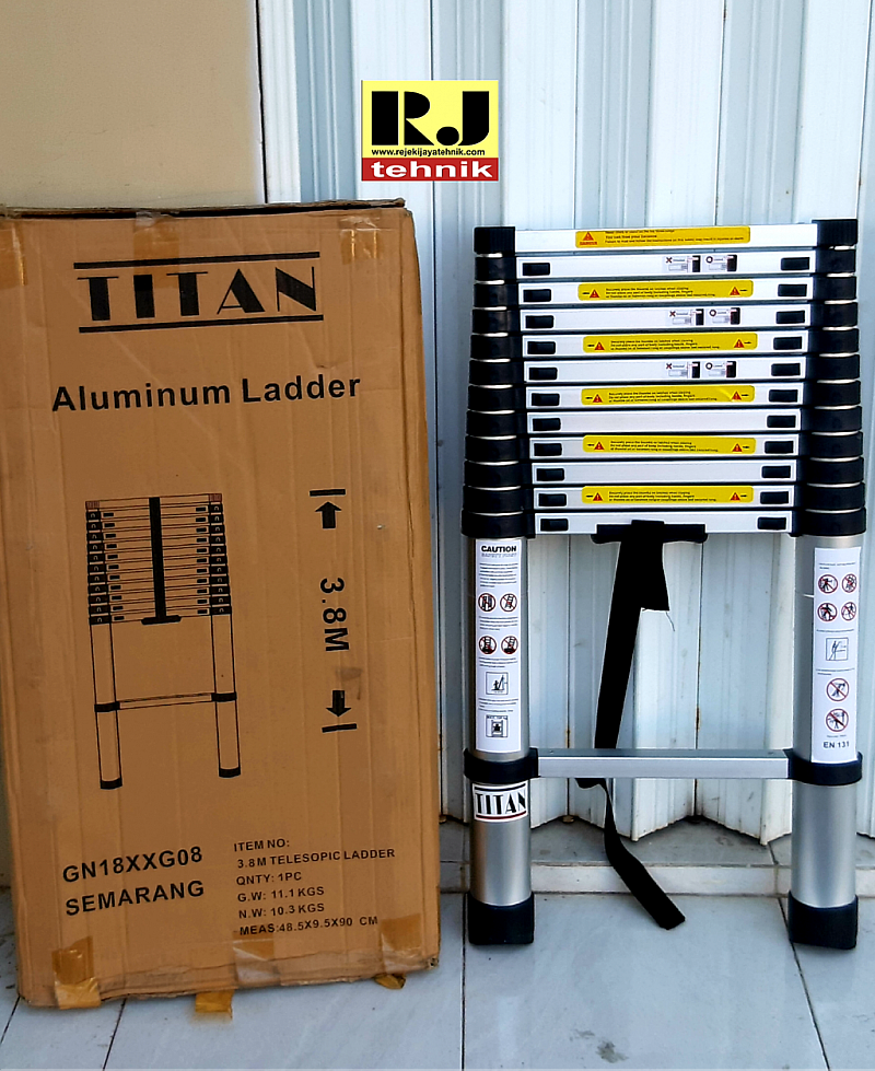 Tangga Lipat Aluminium Teleskopik Titan 3,8m Single Telescopic Ladder