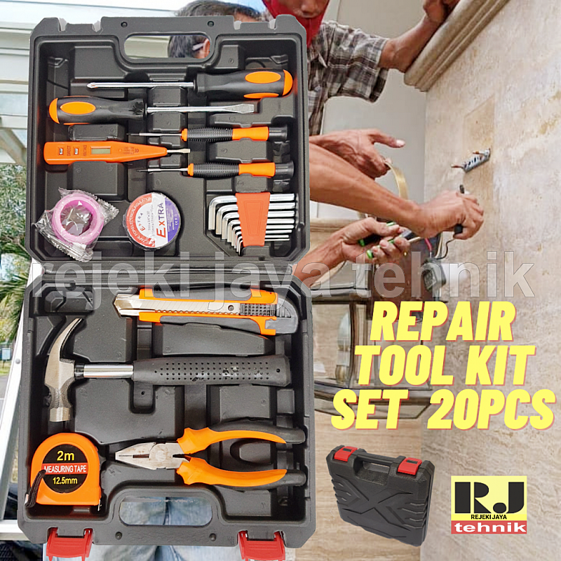 Peralatan Tukang Elektronik Repair Tool Kit Set 20pcs + Toolbox Compact